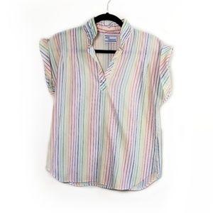 Vintage Rainbow Button Up Lightweight Blouse